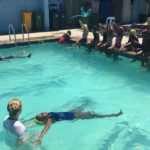 Swimming lessons made possible through a gift from a Waldorf School in Germany